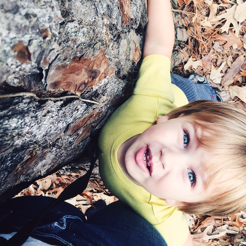 Tree hugger boy