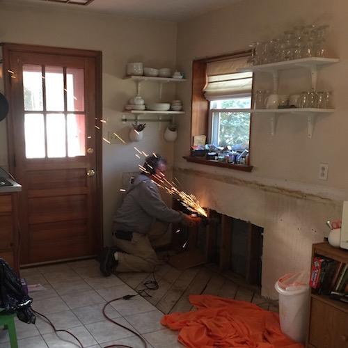 Kitchen sink pipe burst sparks