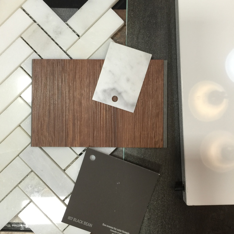 Kitchen Redesign color palate, counter top cabinets shelving floor and backsplash